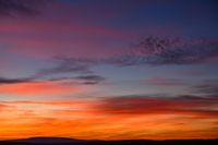 very colorful red, blue, orange and violet late sunset