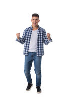 Excited man isolated over white