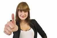 Brunette woman raises her thumb