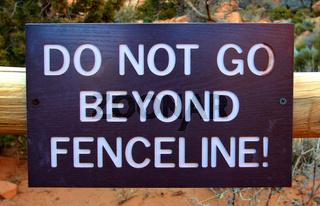 Do Not Go Beyond Fenceline Sign
