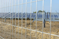 View through fence on solar park construction site