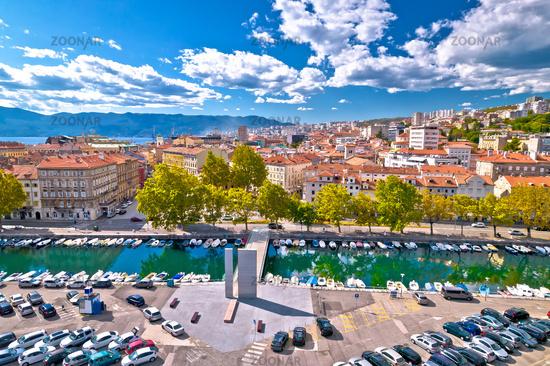 Rjecina river Delta and pedestrian bridge in Rijeka aerial view