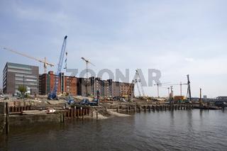 Bauarbeiten am Elbtorquartier in der Hamburger Hafencity