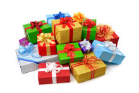 Happy pile of colorful gift boxes