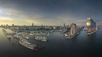 The skyline of Hamburg at a beautiful sunset