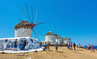 Windmills by the sea in Mykonos