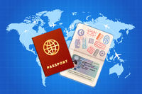 Couple passports with EU visa on world map with airline routes