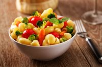 Fresh Pasta Salad with fresh vegetables. High quality photo