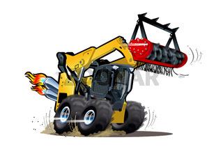 Vector Cartoon Land Clearing Mulcher