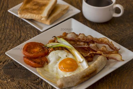 English breakfast close up