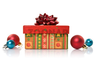 gift box and christmas baubles