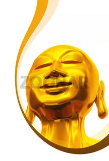 Einladungskarte mit Wellen - Golden Buddha