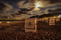 Beach Chairs and the pier in Goehren, Mecklenburg-Western Pomerania, Germany