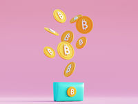 Blue Bitcoin wallet on pink minimal background with levitating coins. Cryptocurrency finance transactions made using blockchain technology. Mining btc 3d render in cartoon style