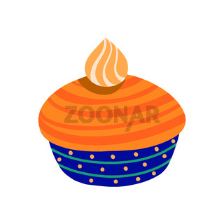 Pumpkin pie. Traditional American homemade pumpkin pie with whipped cream. Vector illustration