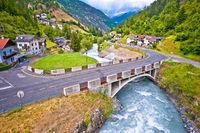 Stelvio pass road and river in Stilfs village, Dolomites Alps