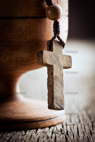 still life with wooden cross