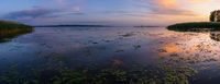 Dnipro river summer sunset twilight panorama landscape, Ukraine