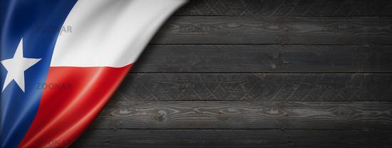 Texas flag on black wood wall banner, USA