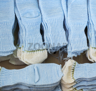 Knitted socks workpieces at knitting shop