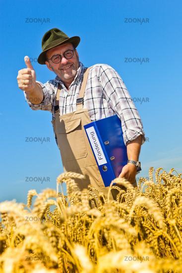 Farmer with portfolio