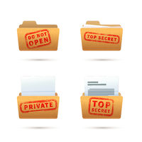 Bright yellow folder icons with documents, archive folders with red top secret stamp on white