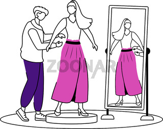 Fashion designer flat contour vector illustration. Dressing up famous people. Trying on new outfit. Preparing model for runway isolated cartoon outline character on white background. Simple drawing
