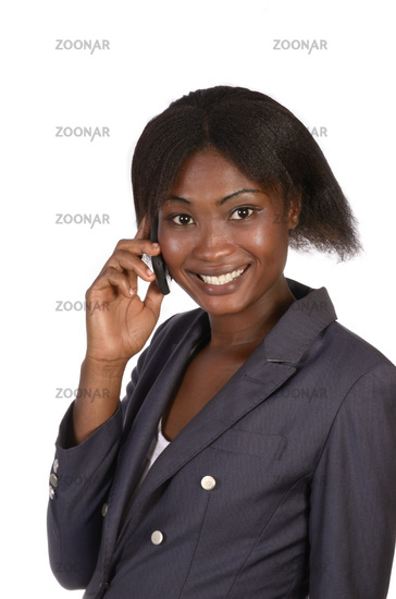 Beautiful african business woman with mobile phone