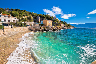 Turquoise small beach in town of Baska view, Island of Krk