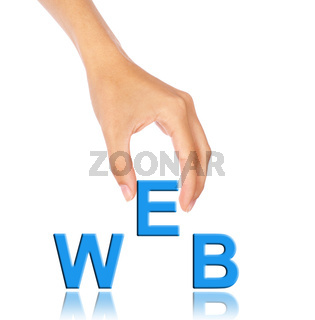 Hand pick up 'E' alphabet from web wording