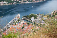 Unrealistically beautiful view of the Bay of Kotor on a beautiful summer day in Montenegro. A very beautiful fjord.