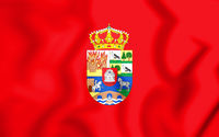 3D Flag of Avila province (Castile and Leon), Spain. 3D Illustration.