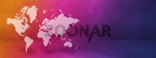 World map on rainbow wall background. 3D illustration. Horizontal banner