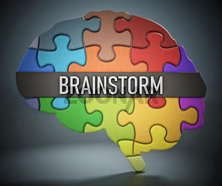 Brainstorm word standing on colorful puzzle pieces forming a human brain shape alltogether. 3D illustration