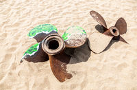 Old rusty ship propellers of a marine ship