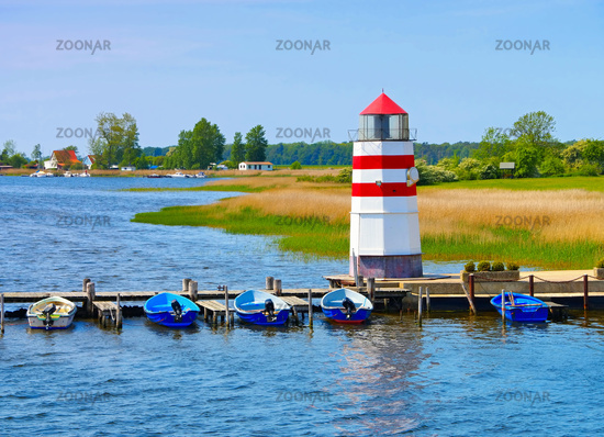 Insel Ummanz Leuchtturm in Deutschland - the lighthouse on island Ummanz, Ruegen in Germany