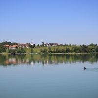 Fairy tale like summer morning at the shore of Lake Pfaffikon, Zurich Canton.