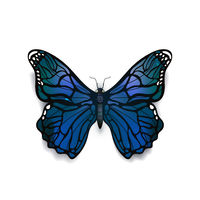 Beautiful blue detailed realistic butterfly on white