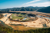 Panoramic view of Hoeryongpo country village in Yecheon, Korea