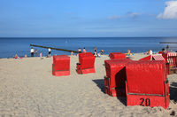 red wicker beach chairs at Usedom