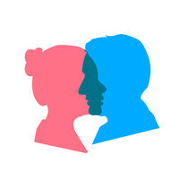 Detailed beautiful woman and man face profiles, relationship concept on white