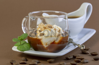 Affogato (Italian for 'drowned') is an Italian coffee dessert.