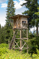 Raised hide near Karersee, South Tyrol, Italy