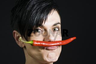 chilli on lips