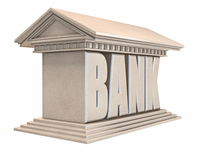 Bank building side view 3D