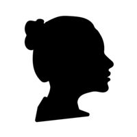 Black detailed realistic beautiful woman face profile isolated on white