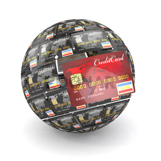 Sphere or globe from credit cards. 3d