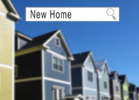 Internet search window with New Home text and houses in the background