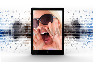 Tablet computer displaying picture of woman