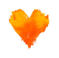 Orange watercolor painted heart shape on white